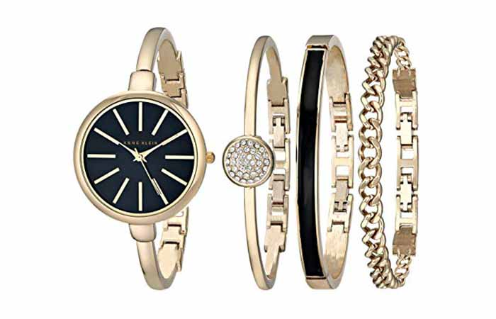 Anne Klein Women's Bangle Watch and Swarovski Crystal Bracelet Set