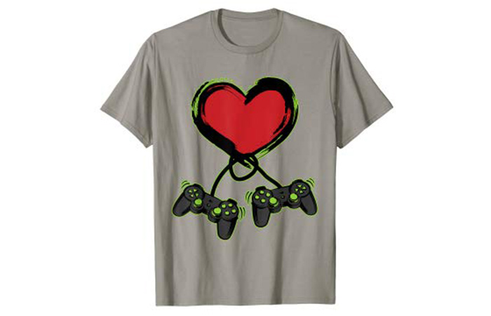 Crush Retro Video Gamer Heart Controller T-Shirt