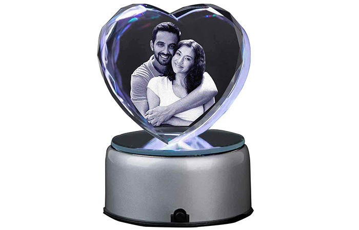 Customized 3D Heart Crystal Showpiece