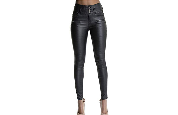 Ecupper Womens Black Faux Leather Leggings