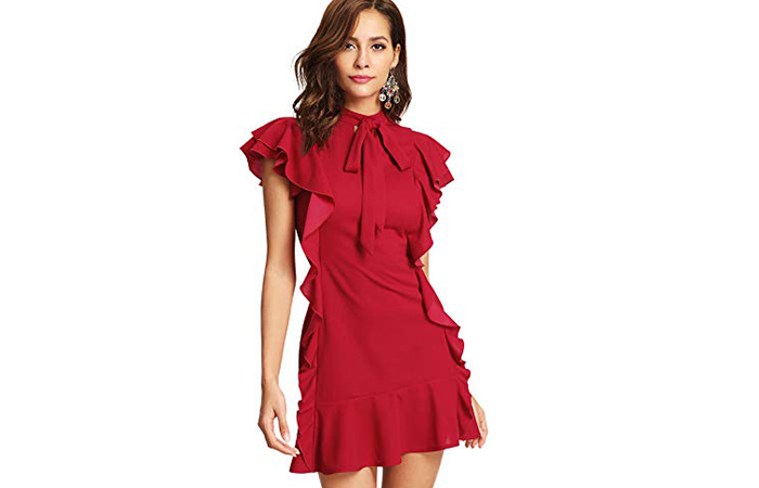 Floerns Ruffled Cocktail Party Dress