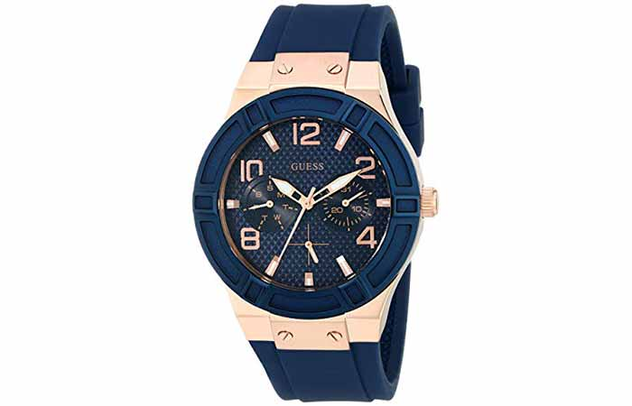 GUESS Rose Gold-Tone Iconic Navy Silicone Watch