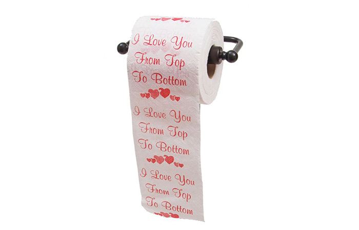 "JustPaperRoses ""I Love You From Top To Bottom"" Novelty Toilet Paper"