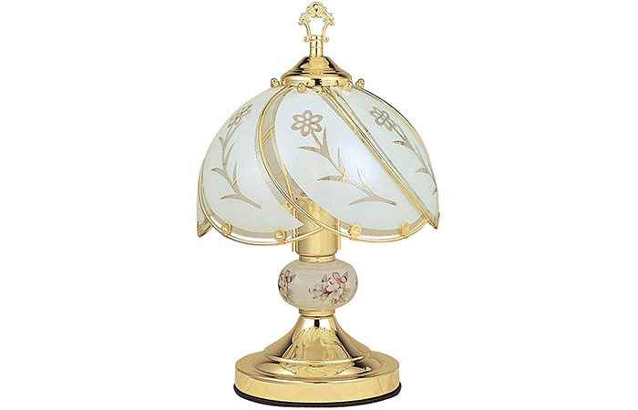 Ore International K313 White Glass Floral Touch Lamp