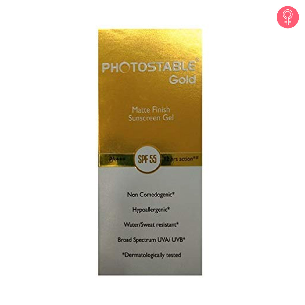 Photostable Gold Matte Finish Sunscreen Gel Spf 55