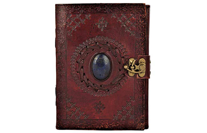 Rustic Town Leather Journal With Precious Stone