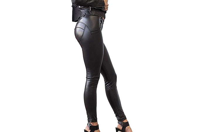 SEASUM Women's Faux Leather Leggings