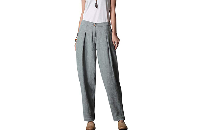 Women's Casual Linen Tapered Pants With Pockets