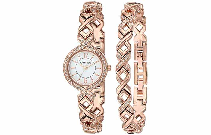 Women's Swarovski Crystal-Accented Watch and Bracelet Set
