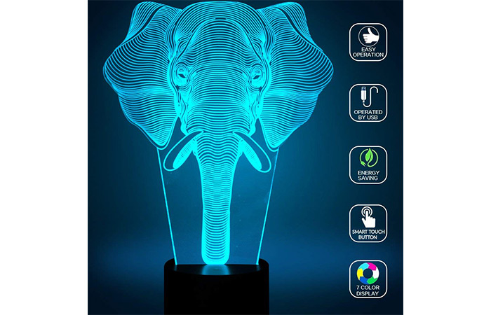 YKL World Elephant 3D Illusion Lamp
