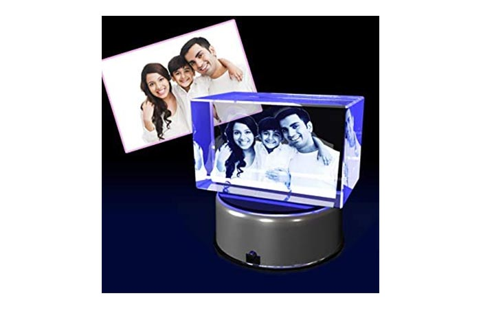 crystal cube with photo