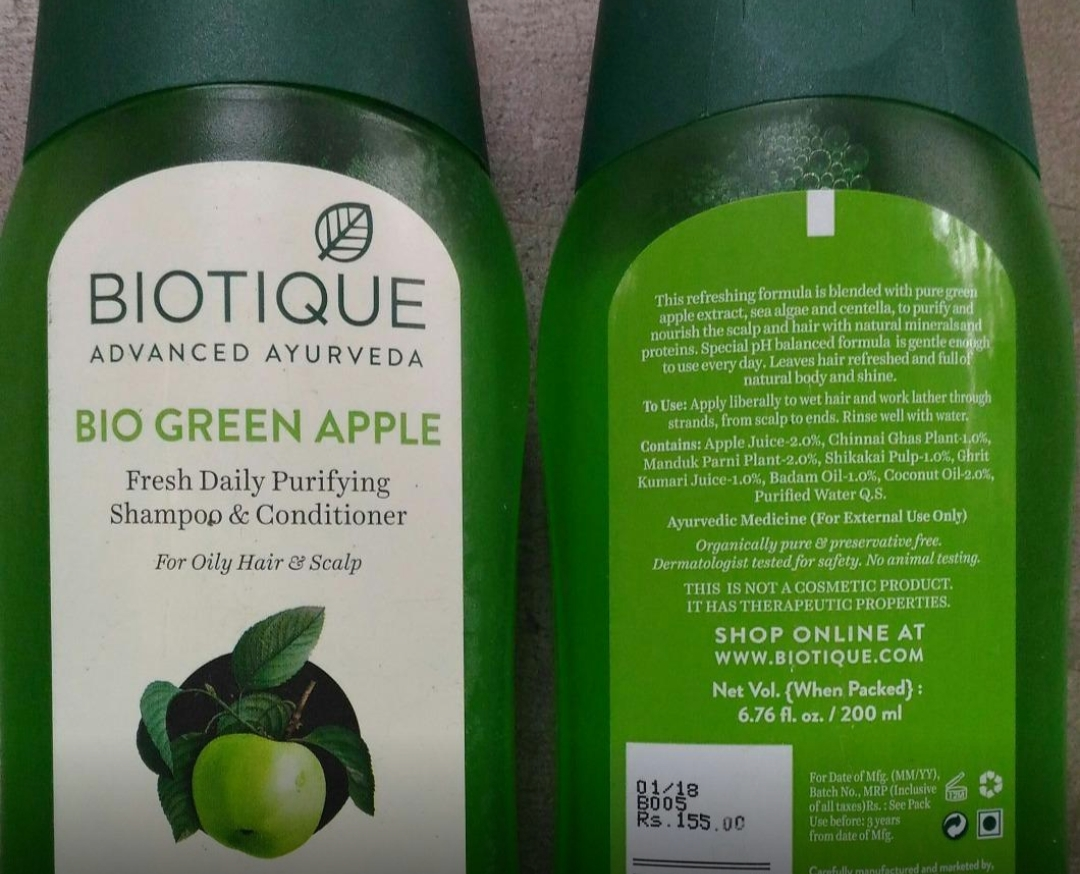 Biotique Bio Green Apple Fresh Daily Purifying Shampoo & Conditioner-Good for oily scalp-By sanna-1