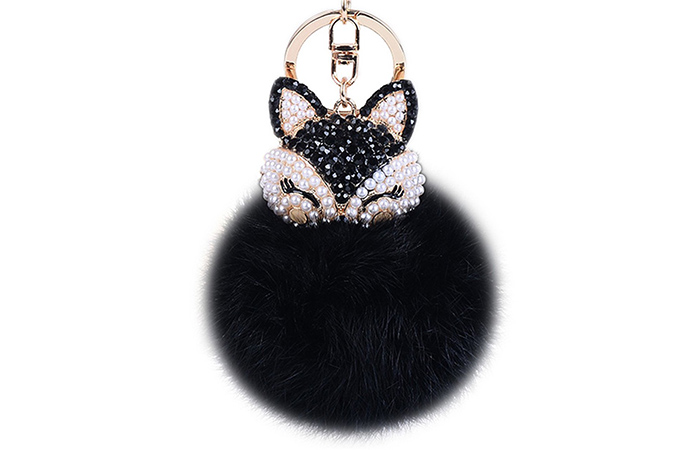Anple Rabbit Fur Ball Keychain