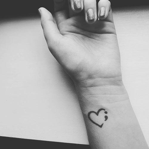 Beautiful Semicolon Heart Tattoo