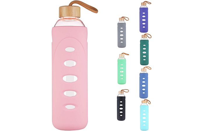 DEARRAY Borosilicate Glass Water Bottle