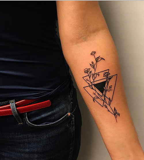 Floral Triangle TattooFloral Triangle Tattoo