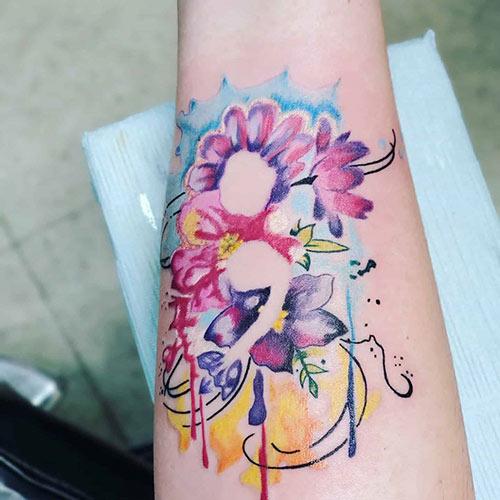 Floral Watercolor Semicolon Tattoo