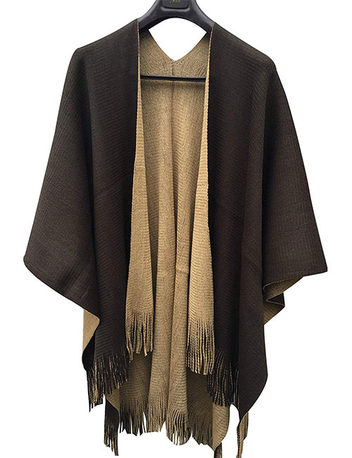 Ilishop Women's Winter Knitted Faux Cashmere Poncho Sweater Coat