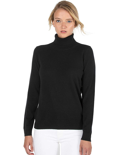JENNIE LIU Women's 100% Pure Cashmere and Turtleneck Sweater