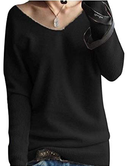 LONGMING Women's Fashion Big V-Neck Batwing Sleeve Cashmere Sweater Winter Tops