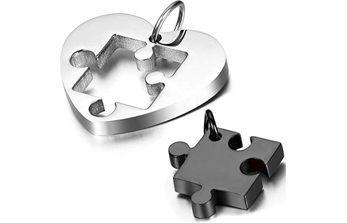 Oidea Heart Puzzle Pendant Necklace