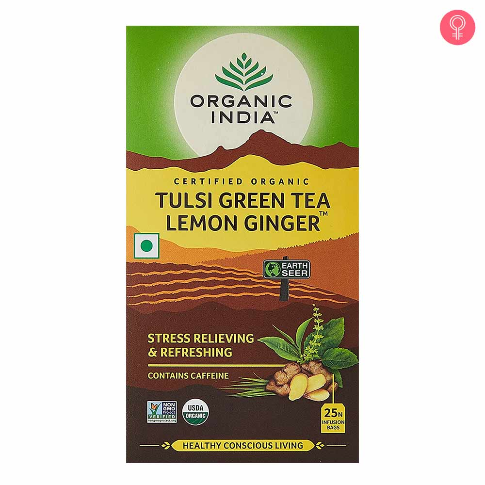 Organic India Tulsi Green Tea Lemon Ginger Tea Bags