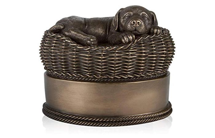 Perfect Memorials Dog In Basket Urn