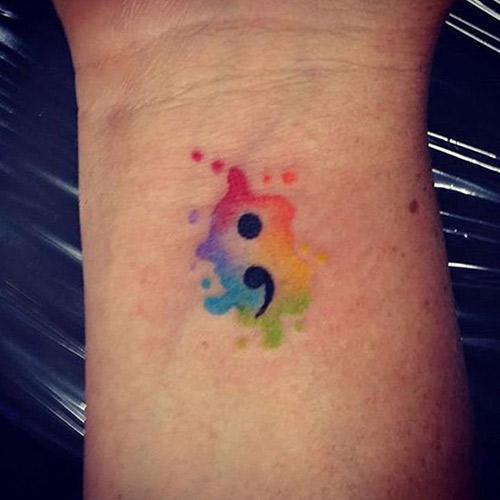 Pretty Watercolor Semicolon Tattoo