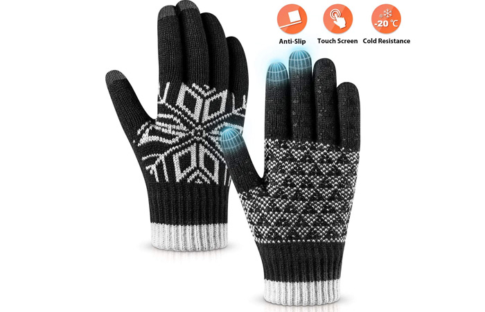 Pvendor Winter Gloves Touch Screen Warm Knit Gloves