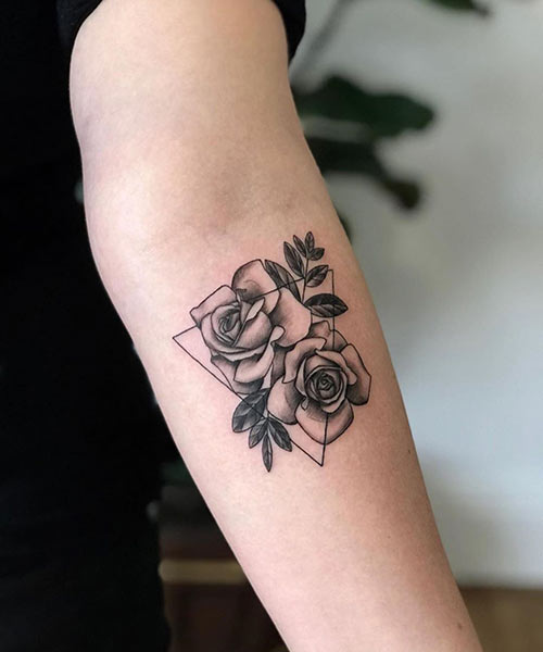 Rose With Triangle Tattoo