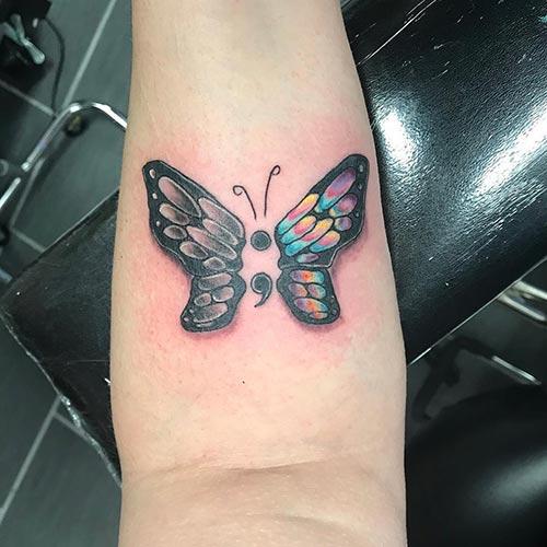 Semicolon Butterfly Tattoo On Wrist
