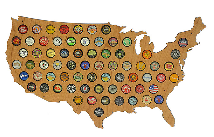 Skyline Workshop USA Beer Cap Map
