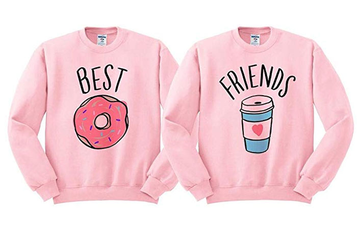 TeesAndTankYou Best Friends Donut Coffee Duo Sweatshirt