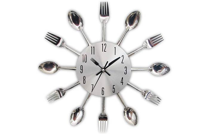 Timelike Kitchen Wall Clock With Removable Cutlery