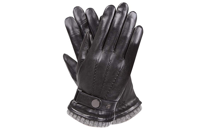 Warmen Men's Winter Leather Driving Gloves