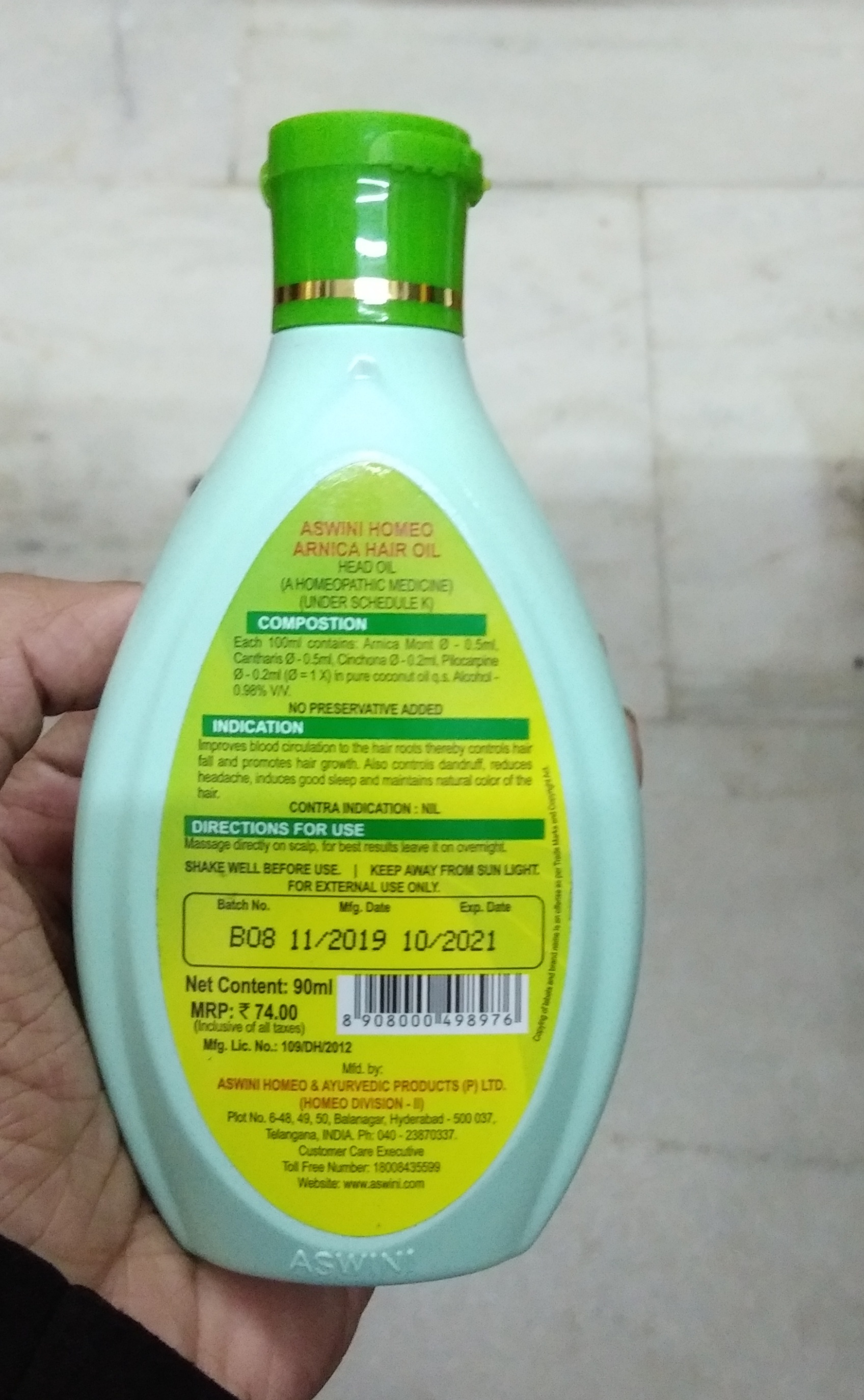 Aswini Homeo Arnica Hair Oil pic 1-Ordinary product-By Nasreen