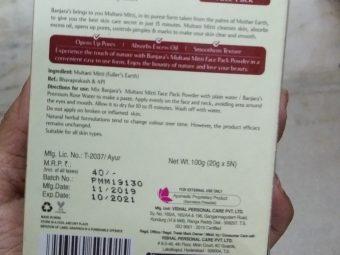 Banjaras Multani Mitti Face Pack Powder pic 2-Love it-By Nasreen