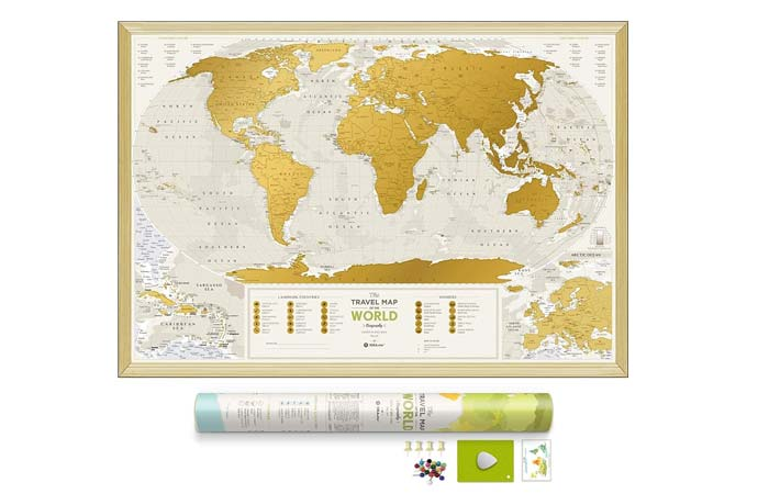 1DEA.me Scratch-Off World Map With Push Pins