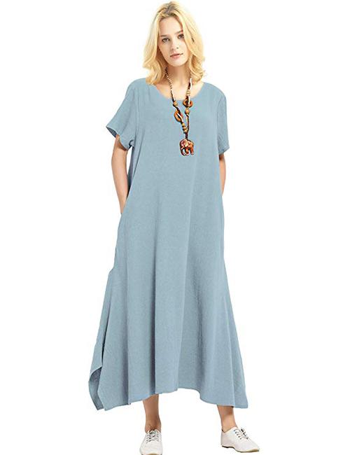 Anysize Linen Cotton Soft Loose Spring Summer Dress