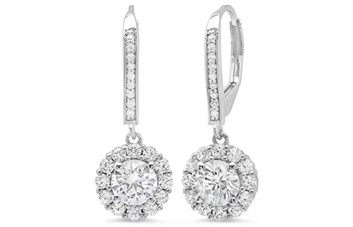 Clara Pucci Diamond Leverback Drop Dangle Earrings