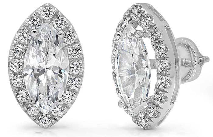 Clara Pucci Marquise Round Cut Halo Solitaire Earrings