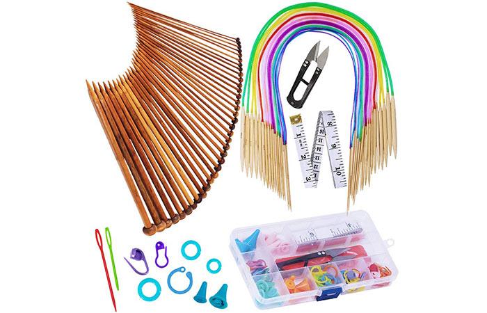 Exquiss Knitting Needles And Bamboo Circular Knitting Needles Set