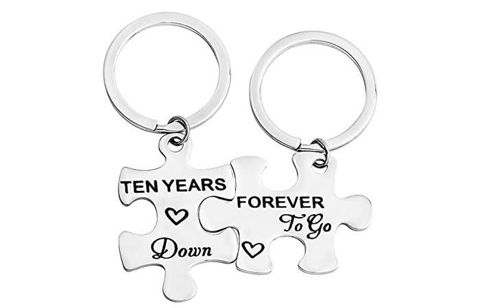 FEELMEM Couples Puzzle Keychain Set