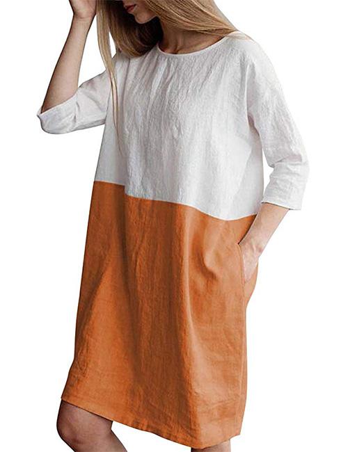 HIUPEB Women's 34 Sleeve Loose Cotton Linen Top Shirt