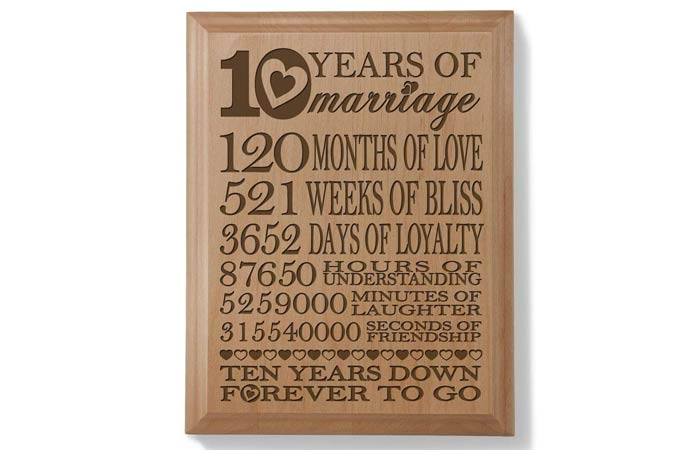 KATE POSH – Our 10th Anniversary Engraved Natural Wood Plaque