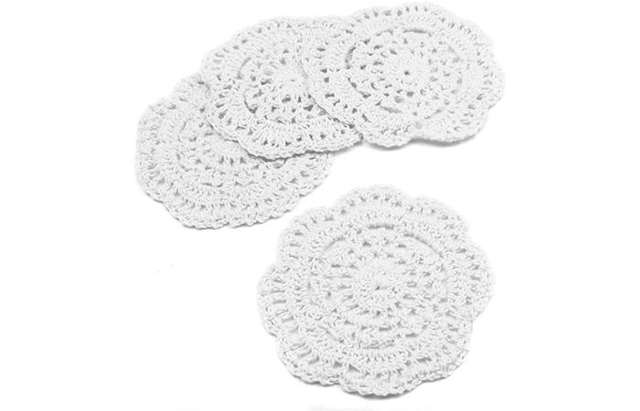 Kilofly Small Crochet Cotton Lace Coasters Doilies