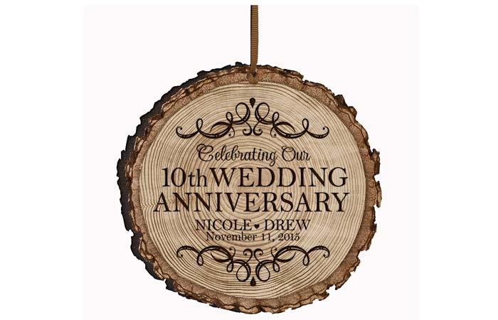 LifeSong Milestones Personalized Bark Style 10-Year Wedding Anniversary Ornament