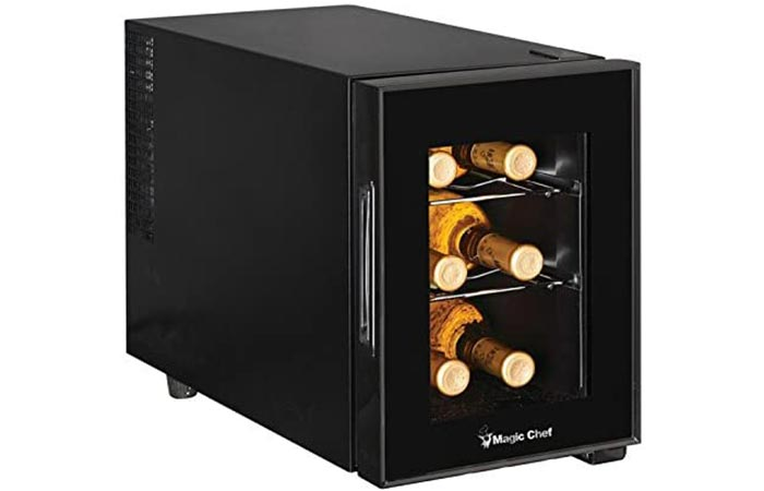 Magic Chef 6-Bottle Single-Zone Black Wine Cooler