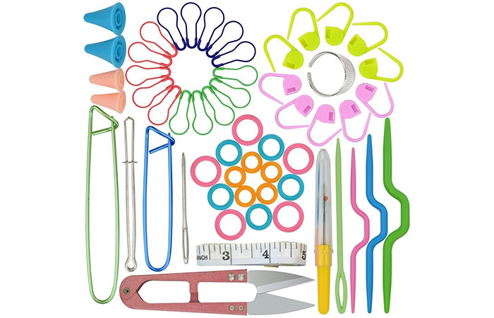 Marrywindix 56-In-One Basic Sewing, Knitting, And Crochet Tools Accessories Set