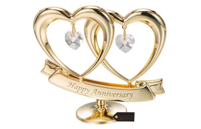 Matashi 24K Gold Plated Heart Figurine Ornament
